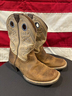 Smoky Mountain Childrens Boys Leroy Vtg Chocolate Leather Cowboy Boots
