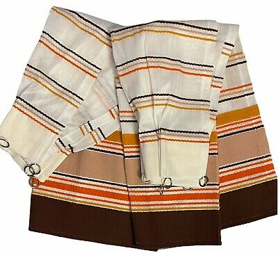 2 Kitchen Curtains 1970s Sears Perma Prest Rv Cafe Rings Brown Orange Yellow Vtg 38 25 Picclick