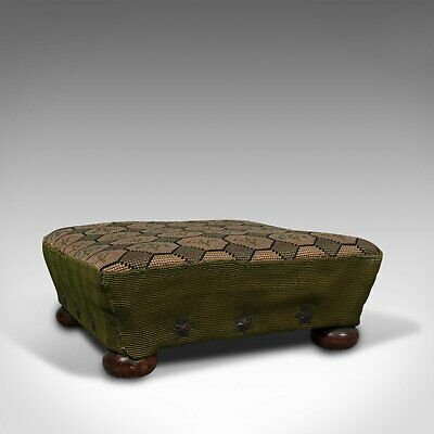 Small Antique Footstool, English, Needlepoint Tapestry, Stool, Victorian, C.1850
