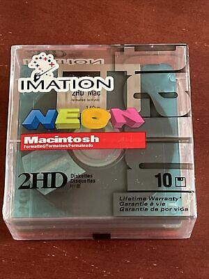 "Imation Neon MAC Formatted 2HD 1.4 MB 3.5"" Diskettes 10 PK"