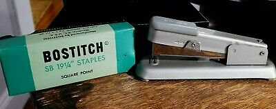 "VINTAGE BOSTITCH STAPLER  + SB 19 1/4""  Staples & Tin Hand Painted Lidded Box"
