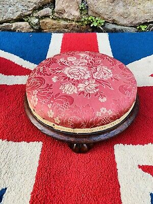 """12"""" Victorian Red Floral Silk and Solid mahogany footstool on Carved Bun feet"""