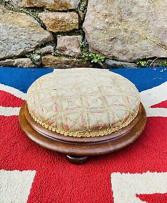"""Nice 15"""" Victorian Tapestry and Solid mahogany footstool on Bun feet"""