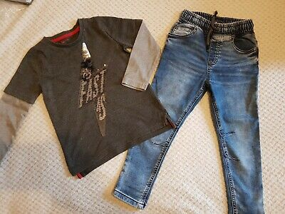 Boys | Sequin Top + Soft Stretchy Blue Skinny Jeans Outfit Set | Tu | 4 Years