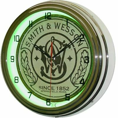 """16"""" Smith & Wesson Green Neon Wall Clock Garage Man Cave"""
