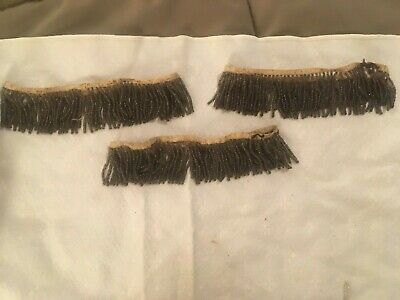 Antique Vtg Beaded Finery Accessories Ladies Dress Sewing Beaded Fringe Patch