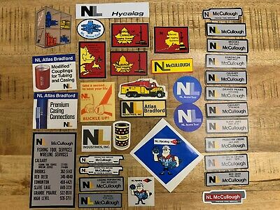 VINTAGE OILFIELD STICKER COLLECTION LOT OF 36 NL MCCULLOUGH BAROID 70S-80s