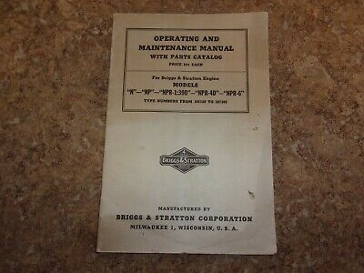 Vtg Briggs & Stratton Operating & Maintenance Manual With Parts Catalog
