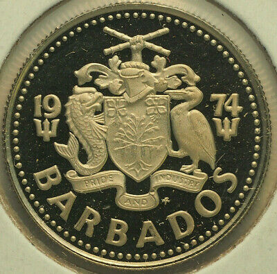 1974 Fm Gem Proof Barbados 10 Cents Free Shipping