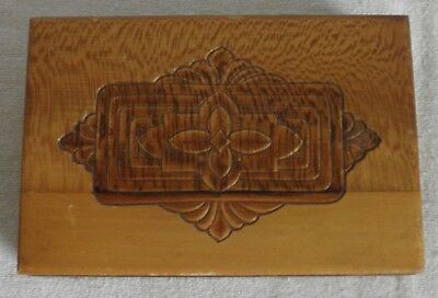 Art Nouveau  carved  tiger maple wood  trinket box