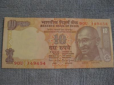 India 10 Rupee Banknote   UNC  Tiger Elephant Rino  Gandhi    nice paper money