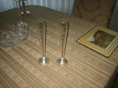 Antique ENGLISH  pair soliflore vase Cristal and  Sterling weighted  10 inches