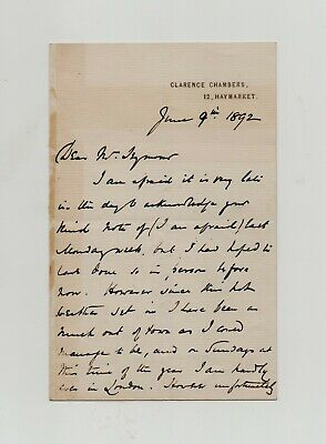 English actor Arthur Cecil Blunt SIGNED 1892 letter Leopold Seymour Mary Sturgis