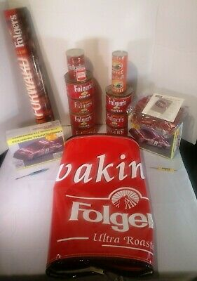 Folgers Coffee Collectibles - Old cans/puzzles/poster/banner/cups/stock cars