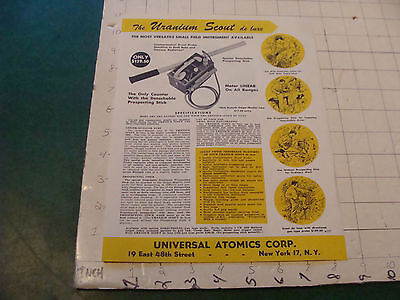 Orig Vintage doube sided paper: The URANIUM SCOUT universal atomics 1950's