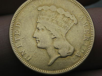 1854-O $3 Gold Indian Princess Three Dollar Coin- Rare New Orleans Mint!