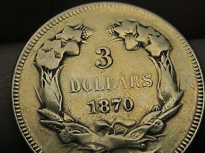 1870 $3 Gold Indian Princess Three Dollar Coin- Extremely Rare! 3500 Mintage