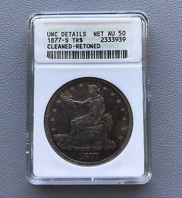 Gorgeous, early slab 1877-S SEATED TRADE Dollar - ANACS net AU 50, UNCIRCULATED