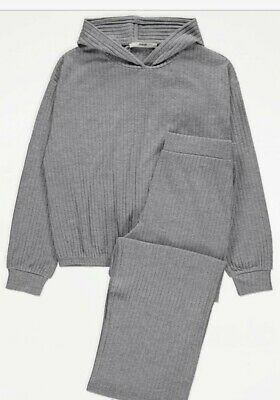 NEW GIRLS KIDS GREY RIB KNIT HOODIE & JOGGERS OUTFIT  AGE 13-14 Years