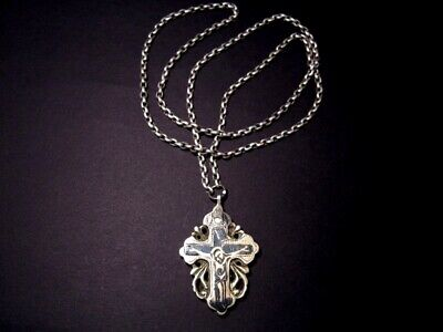 RARE POST MEDIEVAL PECTORAL RELIQUARY ORTHODOX NIELO SILVER CROSS on CHAIN+++