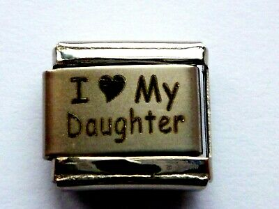 SILVER CLASSIC ITALIAN CHARM LOVE MY DAUGHTERS fits all design 9mm bracelet AM10
