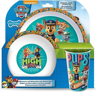 PAW PATROL Tumbler, Bowl and Plate Set - Pups Chase Marshell Skye Animated *NEW*