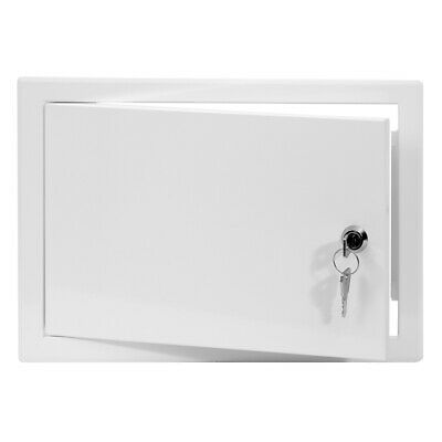 White Metal Access Panel 300mm x 200mm with Lock / Keys Inspection Door Flap