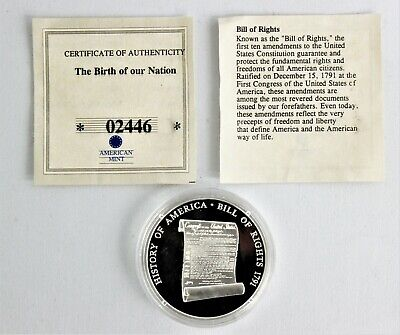 """American Mint The Birth of Our Nation #02446 """"Bill of Rights"""" .999 SILVER ~20g~"""