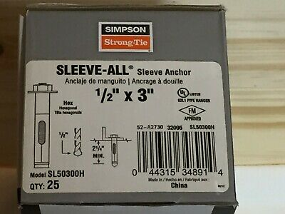 """Box of 25, 1/2"""" x 3"""" Simpson Strong-Tie SL50300H Sleeve-All Anchor, Wedge Anchor"""