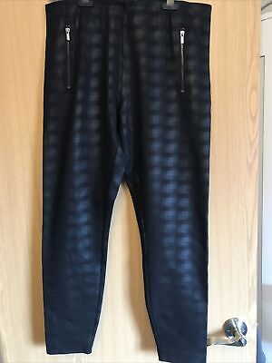 NEXT Black Pull-on Coated Faux-Leather Jean Style Jeggings, Size 16L