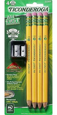 TICONDEROGA My First Pencils, Wood-Cased #2 HB Soft, Pre-Sharpened with Eraser,