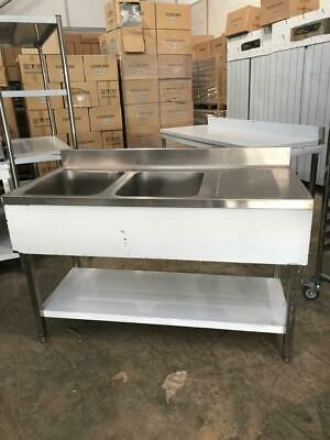 Commercial Sink Stainless steel 2 bowls Left Bottom shelf Splashback 140x70x90cm
