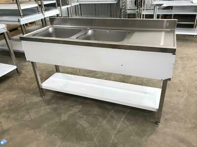 Commercial Sink Stainless steel 2 bowls Left Bottom shelf Splashback 160x60x90cm