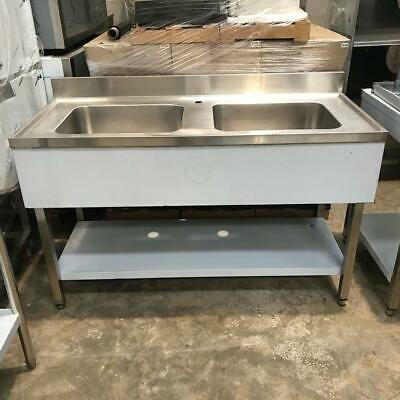 Commercial Sink Stainless steel 2 bowls Bottom shelf Splashback 140x60x90cm