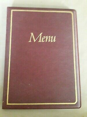 Menu A5 folder clear 2 pockets burgundy cover 8.5 x 6.5 cover hold 2 slots new
