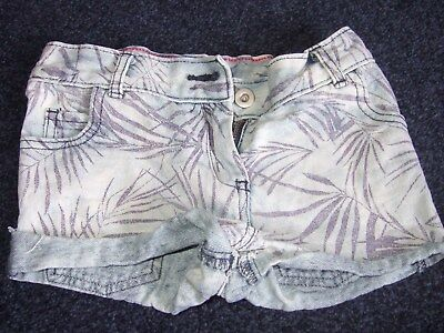 Florence & fred light blue denim shorts with jungle print aged 7 - 8