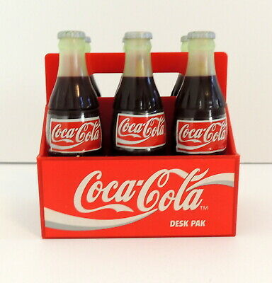1995 Coca-Cola Desk Pak School Office Supplies 6 Tiny Bottles In Carry Pack