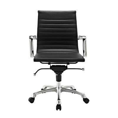Modern Style Low Back Thin Pad Faux Leather Office Chair  Black