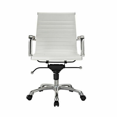 Modern Style Low Back Thin Pad Faux Leather Office Chair White