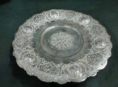 Sterling Silver Vintage autographed Persian Islamic plate, clawfoot. 146g/5.14oz