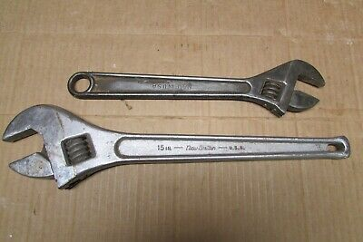 """New Britain Adjustable (Crescent) Wrenches, 15"""", 12"""" USA"""