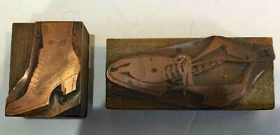 2 antique Vintage PRINTING PLATES *LADIE'S LACE UP BOOT * copper