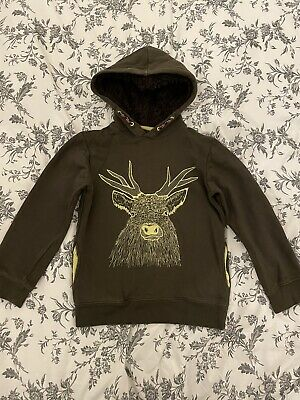 Mini Boden Boys Hoodie, Brown With Embroidered Stag, Age 6-7