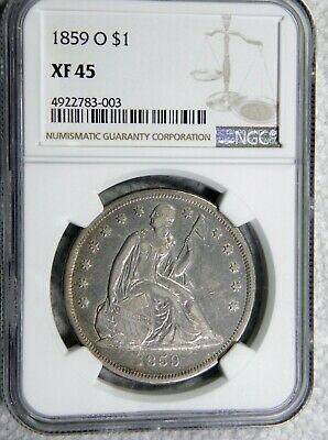 1859-O Seated Liberty $1 Ngc Xf/Au45 Very Choice For Grade New Orleans No Motto