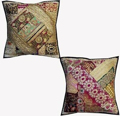 "16""-2 Brown Antique Vintage Sequin Sari Beaded Floor Throw Cushion Pillow Covers"
