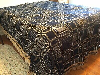 Antique Navy Blue And White Coverlet With Leno Fringe