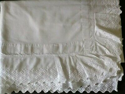 Antique Bedsheet With Diamond Patterned Scalloped Ruffle Edging, C. 1900-20