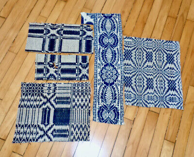 5 Small Antique Blue White Coverlet Pieces Woven Reverse Textile For Crafts Aafa