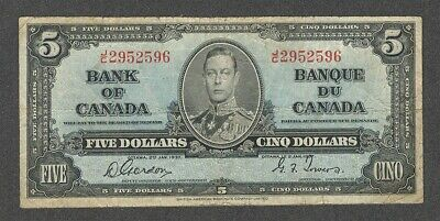 1937 $5.00 BC-23b F+ NICE King George VI GORDON Bank of Canada OLD Five Dollars