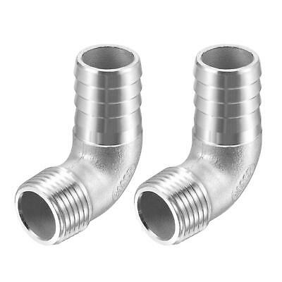 2pcs 304 Stainless Steel Hose Barb Fitting Elbow 20mm x G1/2 Male Pipe Connector